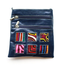 Navy leather small bag with Mola design