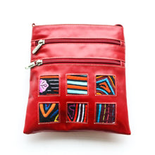 Red leather small bag with mola design, without strap on
