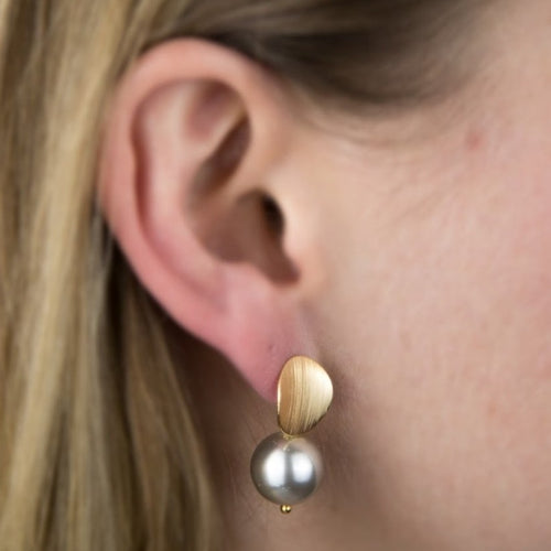 Pearl Earrings- Brass Coated