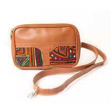 Tan leather fanny pack / small leather bag
