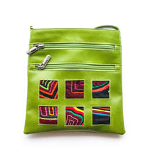 Green leather small bag with mola design