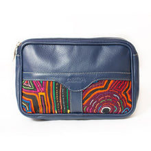 Blue leather fanny pack with mola design