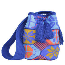 Large blue, orange, and yellow I Feel Blue handmade Wayuu bag from Colombia