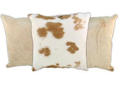 Beige and White Cowhide Pillows
