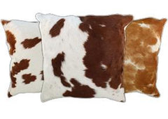 Brown and White Cowhide Pillows