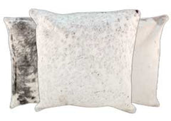 Grey with White Cowhide Pillows