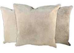 Grey with Beige Cowhide Pillows