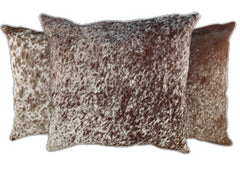 Salt and Pepper Brown Cowhide Pillows