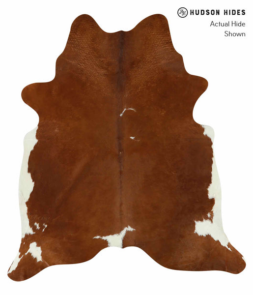Brown and White Regular Cowhide Rug #15220