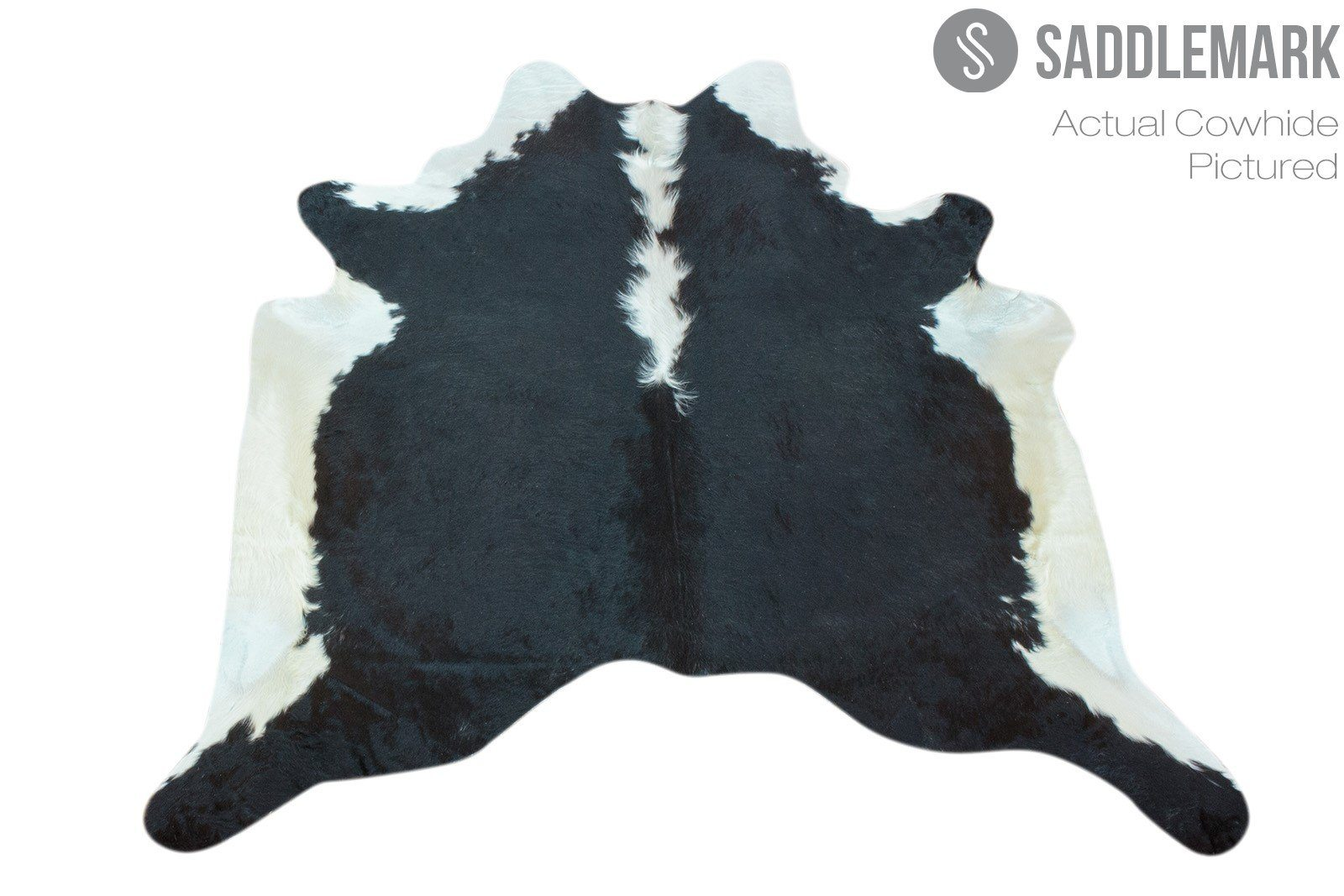 "Black and White Brazilian Cowhide Rug 6'7"" x 6'1"" by Saddlemark #2611"
