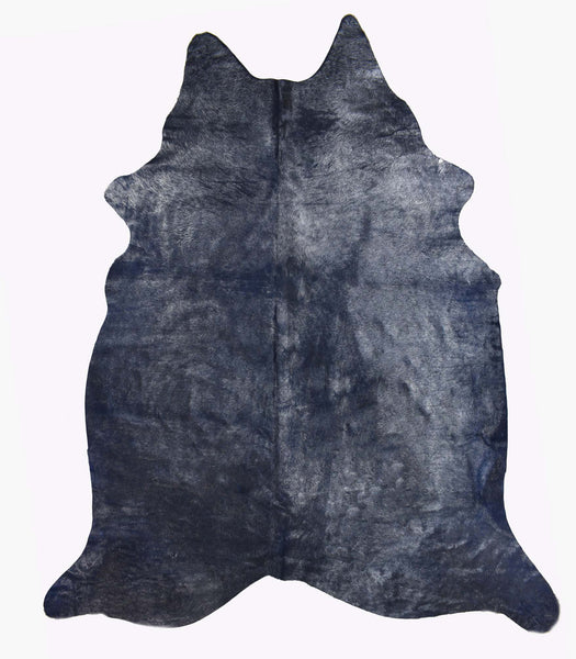 Blue with Silver Frost Cowhide Rug #1003DRKSF