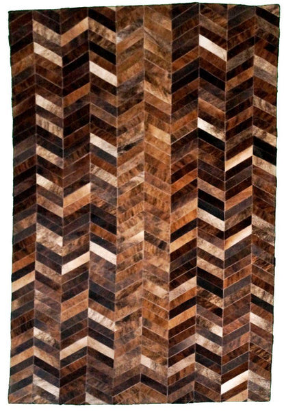 Brindle Chevron Cowhide Patchwork Rug