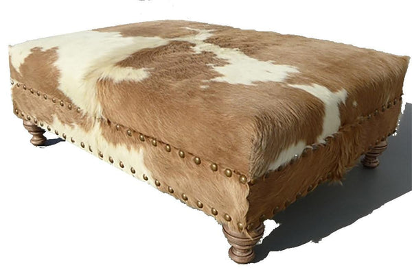 Custom cowhide ottoman beige white cowhides direct - What is an ottoman ...