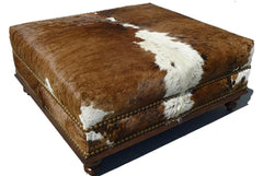 Custom Cowhide Ottoman - Natural