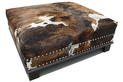Custom Cowhide Ottoman - Brown Tricolor Brindle