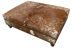 Custom Cowhide Ottoman - Speckled Brown and White
