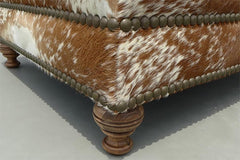 Custom Cowhide Ottoman - Brown/White