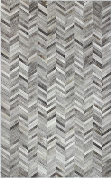 Grey Chevron Cowhide Patchwork Rug