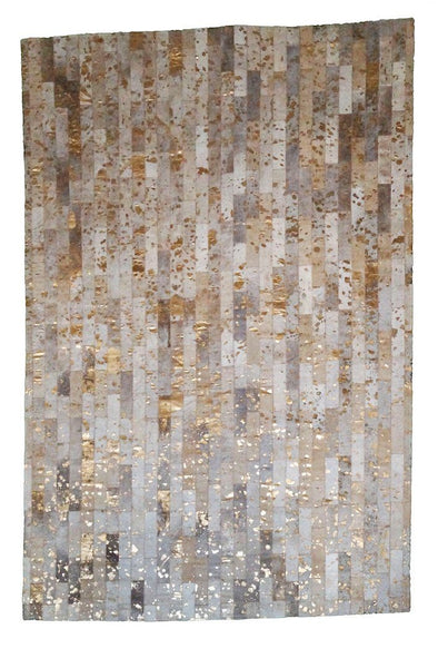 Gold Metallic Cowhide Patchwork Rug