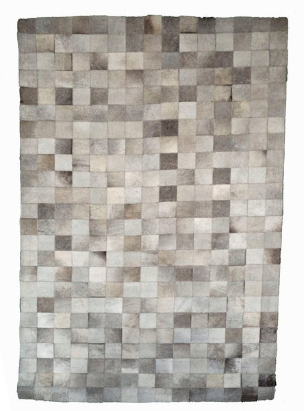 Grey Cowhide Patchwork Rug