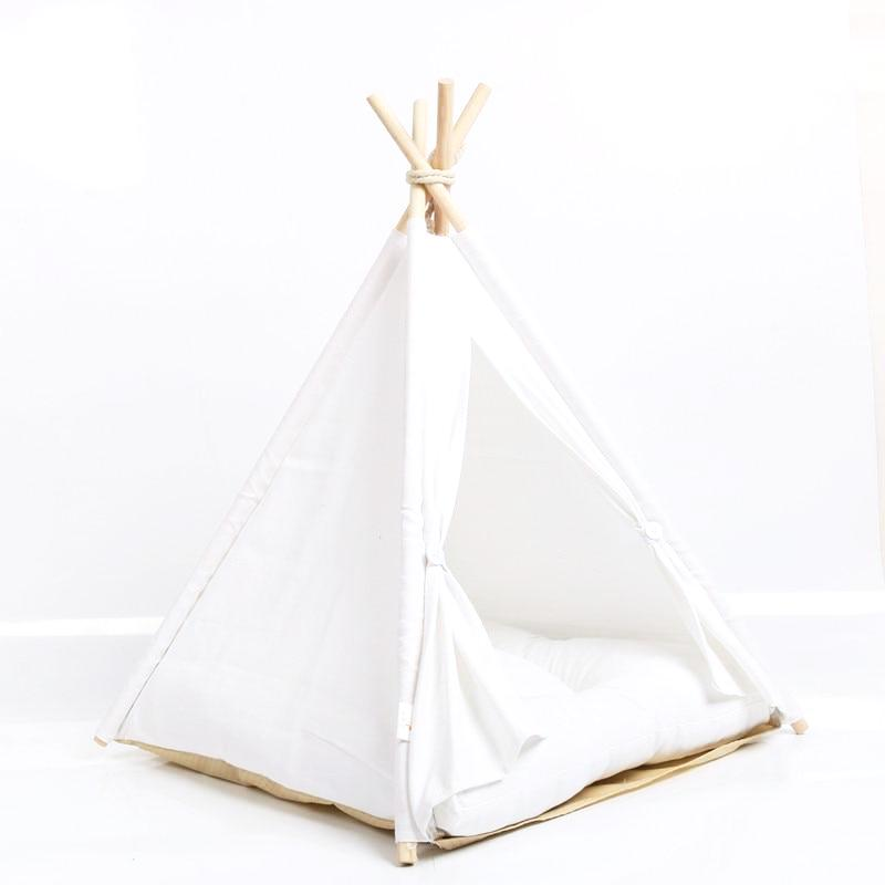 Dog Teepee in Crisp White Cotton