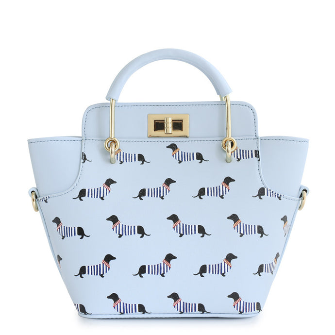 Dachshund Lover Woman's Satchel - Powder Blue