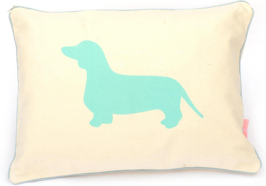 Breakfast Dachshund Pillow Sham - Aqua