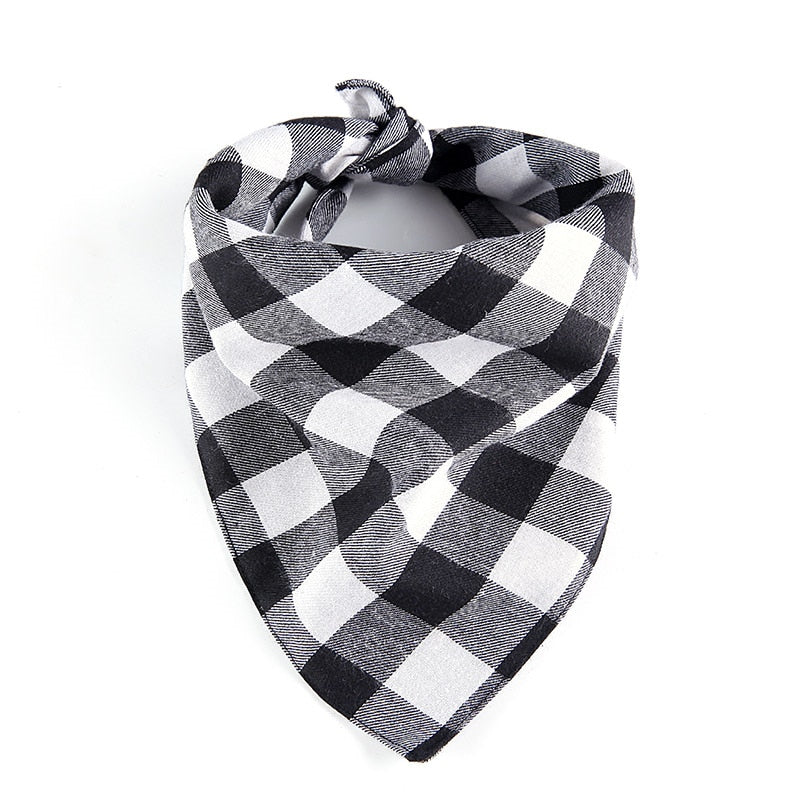 Dog Bandana in Black Check