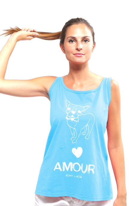AMOUR Collection Pet Lover Tank - Aqua