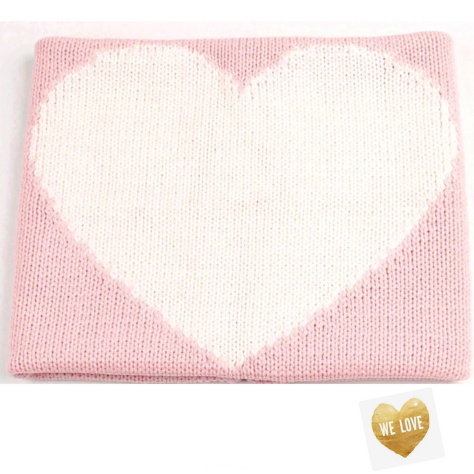 J'Adore - LOVE - Knit Blankie - Pink