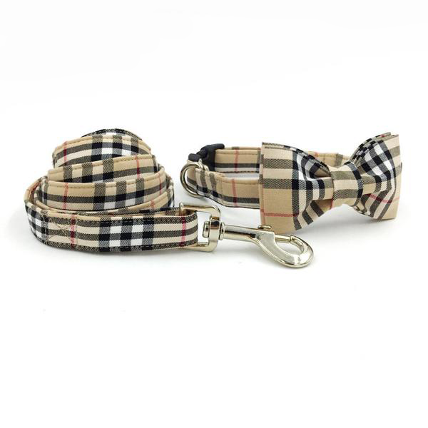 English Dog Collar Bowtie +Leash Set