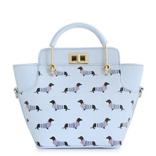 Animal Prints Dog Stripes  ENSSO Trapeze Lady Candy Color Faux Leather PU For Women's Handbags Navy Style Totes Cross Body Bags