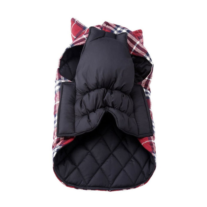 Reversible Plaid Dog Jacket - Navy/Red