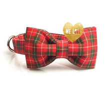 Holiday Tartan Dog Collar Bow Tie + Leash Set