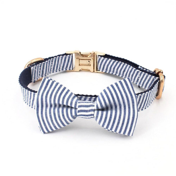 Seersucker Stripe Bowtie Collar + Leash Set