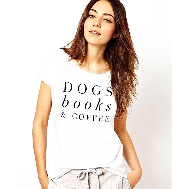 Dogs, Books & Coffee T-Shirt - White