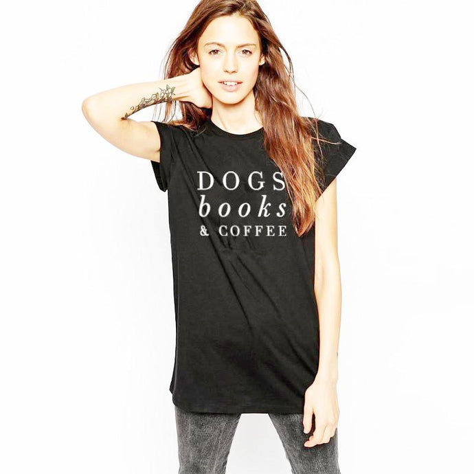 Dogs, Books & Coffee T-Shirt - Black