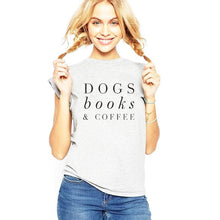 Dogs, Books & Coffee T-Shirt - Grey