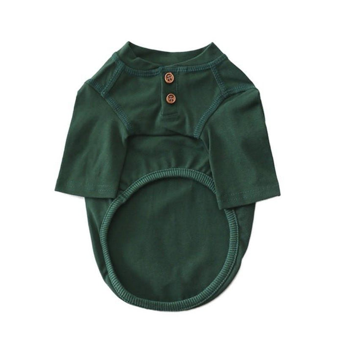 Dog Cotton Henley - Forest Green
