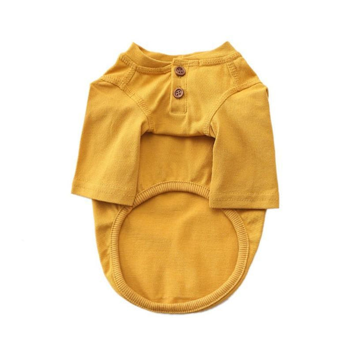 Dog Cotton Henley - Mustard