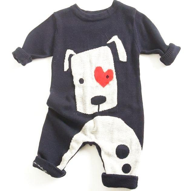 Dog Love Baby Romper - Navy
