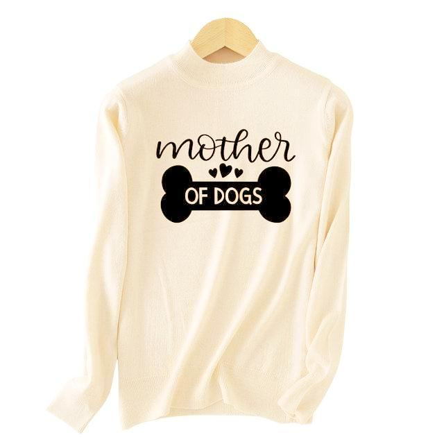 Dog Mommy Fine Knit Crew Sweater - Blush