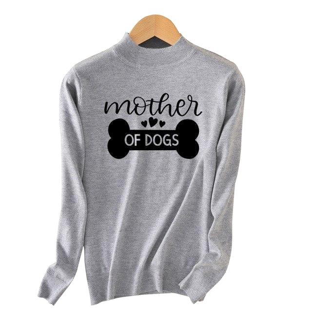 Dog Mommy Fine Knit Crew Sweater - Gray