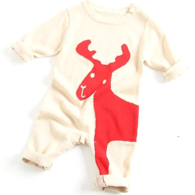 Holiday Love Baby Romper - Ivory/Red