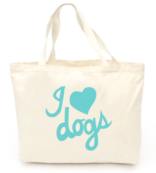 I Love Dogs Tote Bag in Aqua