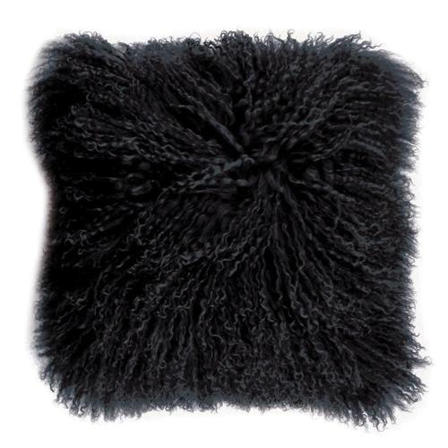 Tibetan Lamb Black Fur Cushion