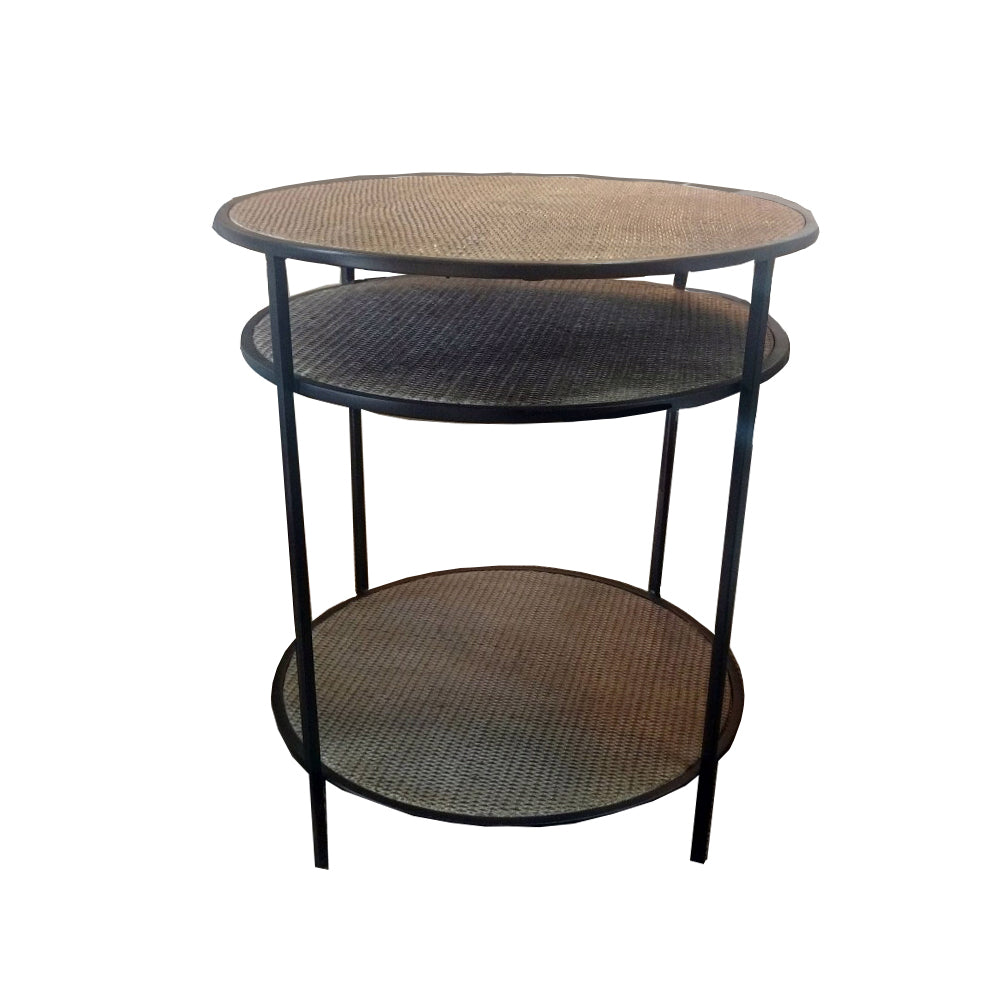 Natural Rattan 3 Tier Table