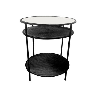 Rattan 3 Tier Table Black