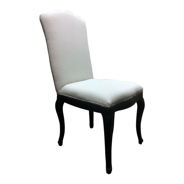 Antoinette Stud Dining Chair Black/Linen