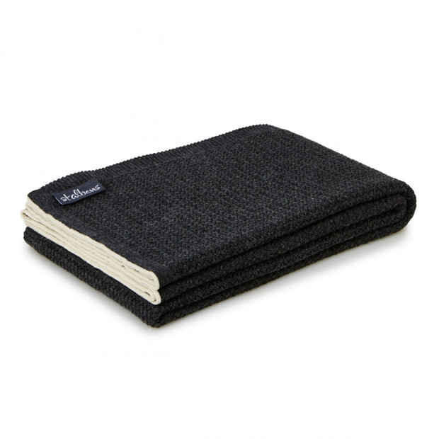 Wool Knitted Throw - Carbon